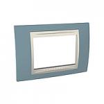 Тримодулна рамка италиански стандарт Unica Plus IT, Слонова кост/Светло син