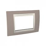 Тримодулна рамка италиански стандарт Unica Plus IT, Слонова кост/Тъмно сив