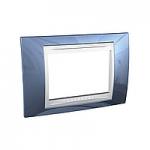 Тримодулна рамка италиански стандарт Unica Plus IT, Бял/Ледено син