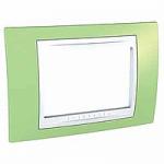 Тримодулна рамка италиански стандарт Unica Plus IT, Бял/Ябълково зелен