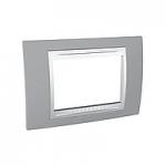 Тримодулна рамка италиански стандарт Unica Plus IT, Бял/Светло сив