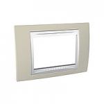 Тримодулна рамка италиански стандарт Unica Plus IT, Бял/Светло бежов