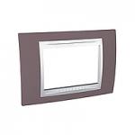 Тримодулна рамка италиански стандарт Unica Plus IT, Бял/Бледоморав