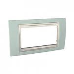 Четиримодулна рамка италиански стандарт Unica Plus IT, Слонова кост/Морско зелен