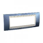 Шестмодулна рамка италиански стандарт Unica Plus IT, Слонова кост/Ледено син