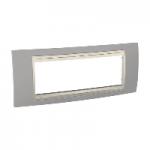 Шестмодулна рамка италиански стандарт Unica Plus IT, Слонова кост/Светло сив