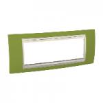 Шестмодулна рамка италиански стандарт Unica Plus IT, Слонова кост/Ярко зелен