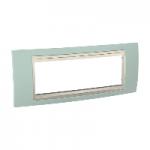 Шестмодулна рамка италиански стандарт Unica Plus IT, Слонова кост/Морско зелен