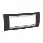 Шестмодулна рамка италиански стандарт Unica Plus IT, Слонова кост/Тъмно сив