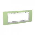 Шестмодулна рамка италиански стандарт Unica Plus IT, Бял/Ябълково зелен