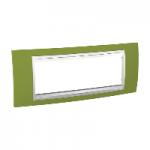 Шестмодулна рамка италиански стандарт Unica Plus IT, Бял/Ярко зелен