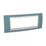 Шестмодулна рамка италиански стандарт Unica Plus IT, Бял/Светло син