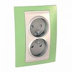 Двоен контактен излаз, 2P+E, PO/FR, Слонова кост/Ябълково зелен