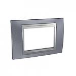 Тримодулна рамка италиански стандарт Unica Top IT, Сив металик/Алуминий