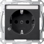 Контактен излаз Шуko с индикаторна лампа и поле за етикет, Антрацит