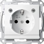 Контактен излаз Шуко с LED осветителен модул, с детска защита, Полярно бял