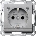 Контактен излаз Шуко със светлинен излаз  и LED осветителен модул, Алуминий