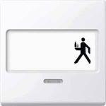 Капак за механизъм с поле за етикет и индикаторна лампа, Активно бяло