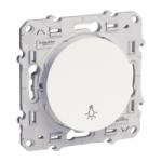 """Бутон 10 AX, със символ """"осветление"""", светещ със светодиоден модул, с безвинтови клеми, Бял"""