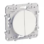 Девиаторен ключ + бутон (NO/NC) 10 AX, с безвинтови клеми, Бял
