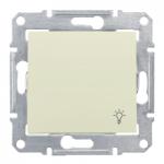 Бутон, със символ осветление IP 44 10 A – 250 V AC, Бежов