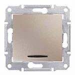 Девиаторен бутон 10 A – 250 V AC, със синя глим-лампа, Титаний