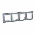 Четворна рамка Unica Basic, Техническо сиво/Бял