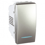 Еднополюсен ключ 10 AX, със синя глимп-лампа, едномодулен, Алуминий