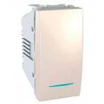 Девиаторен ключ 10 AX, с LED глим-лампа, син цвят, едномодулен, Слонова кост