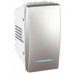 Девиаторен ключ 10 AX, с LED глим-лампа, син цвят, едномодулен, Алуминий