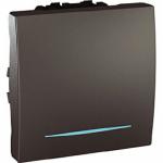 Еднополюсен ключ 10 AX, със синя глимп-лампа, двумодулен, Графит