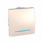 Девиаторен ключ 10 AX, с LED глим-лампа, син цвят, двумодулен, Слонова кост