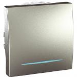 Девиаторен ключ 10 AX, с LED глим-лампа, син цвят, двумодулен, Алуминий