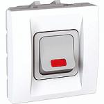 Високомощностен двуполюсен ключ 20 AX – 250 V, с индикаторна лампа, цвят кехлибар, двумодулен, Бял