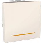 Еднополюсен ключ 16 AX, с LED индикаторна лампа, цвят кехлибар,  двумодулен, Слонова кост
