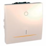 Двуполюсен ключ 16 AX, с LED индикаторна лампа, цвят келибар, двумодулен, Слонова кост