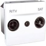 Розетка R-TV/SAT за системи с паралелно свързване, единствен извод, двумодулна, Бял