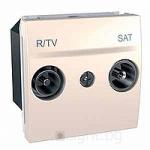 Розетка R-TV/SAT за системи с паралелно свързване, единствен извод, двумодулна, Слонова кост