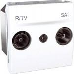 Розетка R-TV/SAT за системи със серийно свързване, последна в серия, двумодулна, Бял