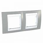 Двойна рамка Unica Plus, Светло сив/Бял