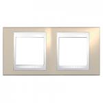 Двойна рамка Unica Plus, Светло бежов/Бял