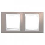 Двойна рамка Unica Plus, Млечно кафяв/Бял