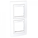 Двойна рамка за вертикален монтаж Unica Plus, Бял/Бял