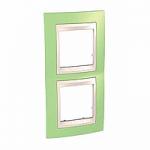 Двойна рамка за вертикален монтаж Unica Plus, Ябълково зелен/Слонова кост