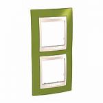 Двойна рамка за вертикален монтаж Unica Plus, Ярко зелен/Слонова кост