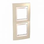 Двойна рамка за вертикален монтаж Unica Plus, Светло бежов/Слонова кост