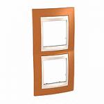 Двойна рамка за вертикален монтаж Unica Plus, Оранж/Слонова кост