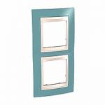 Двойна рамка за вертикален монтаж Unica Plus, Светло син/Слонова кост