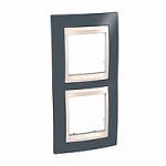 Двойна рамка за вертикален монтаж Unica Plus, Тъмно сив/Слонова кост