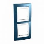 Двойна рамка за вертикален монтаж Unica Plus, Ледено син/Бял